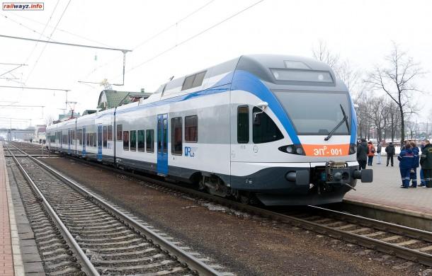 Электропоезд ЭПр-001 на станции Бобруйск