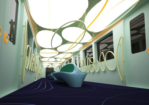 Футуристический дизайн вагона метро