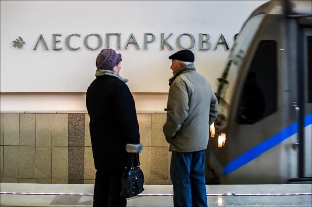 пассажиры на станции Лесопарковая