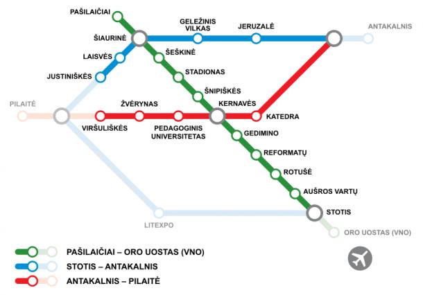 Схема Вильнюсского метрополитена