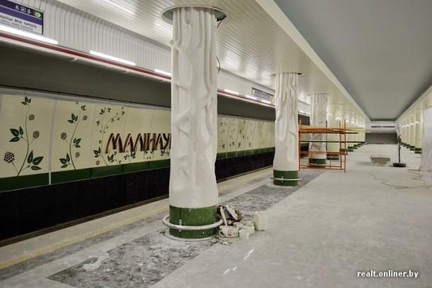 Декор колонн на станции Малиновка