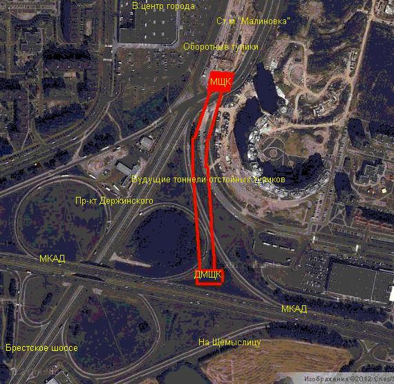 Примерный картоплан проходки: МЩК перегона и пути отстоя подвижного состава